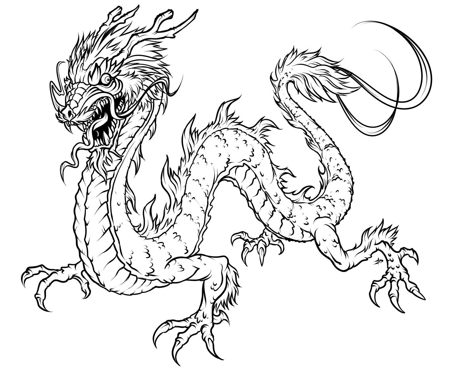 7 Images of Realistic Dragon Coloring Pages Printable