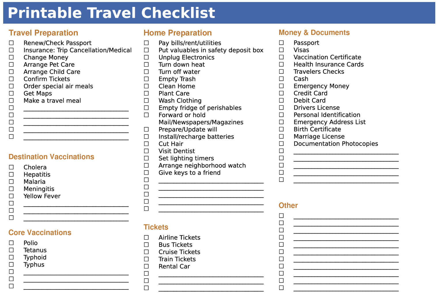 7 Images of Travel Checklist Printable