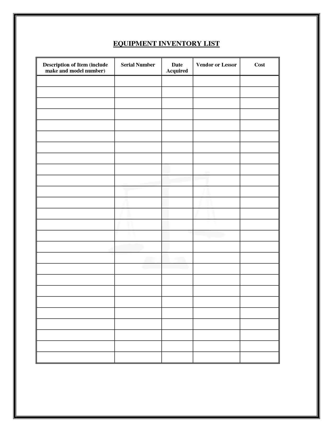 6 best images of printable inventory list form printable