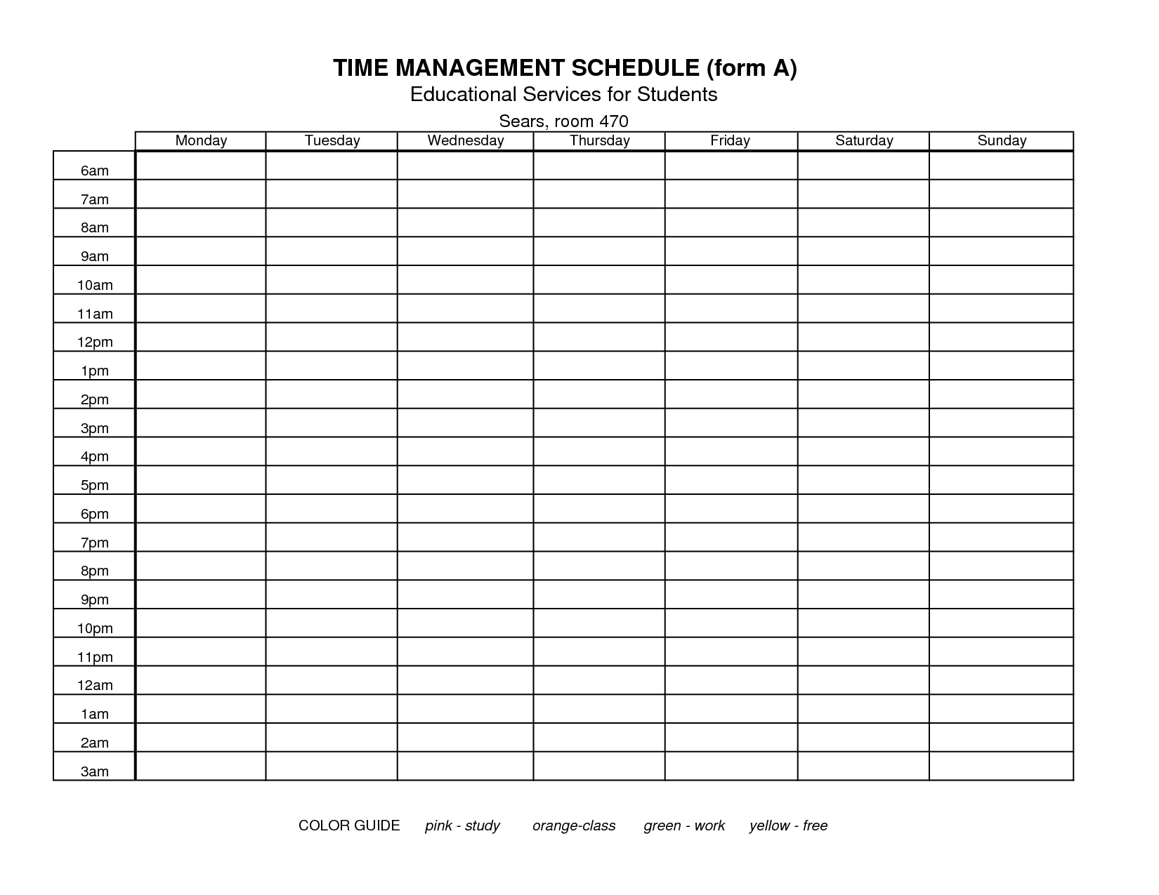 Free printable time management forms time management log printable