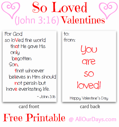 Valentine John 3 16 Printable Cards