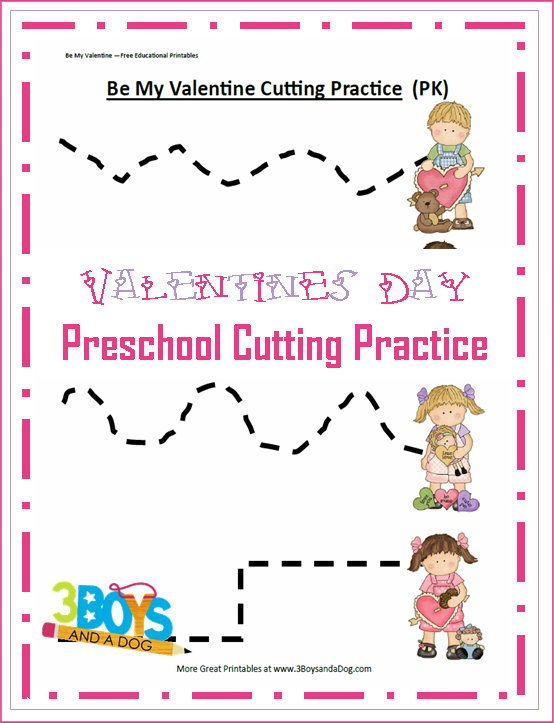 Valentine's Free Printable Cutting Worksheets Preschool