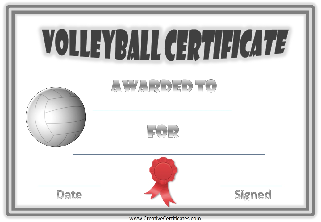award certificate design template - 8 best images of volleyball templates printable