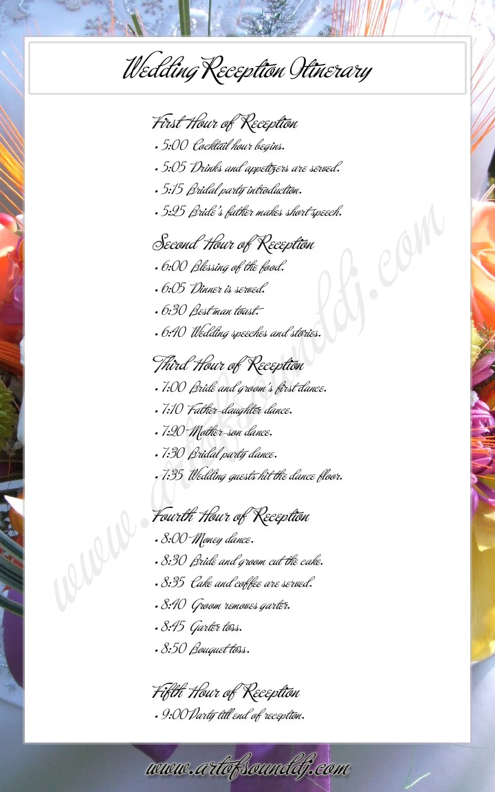 sweet sixteen program template - 6 best images of reception agenda printable wedding
