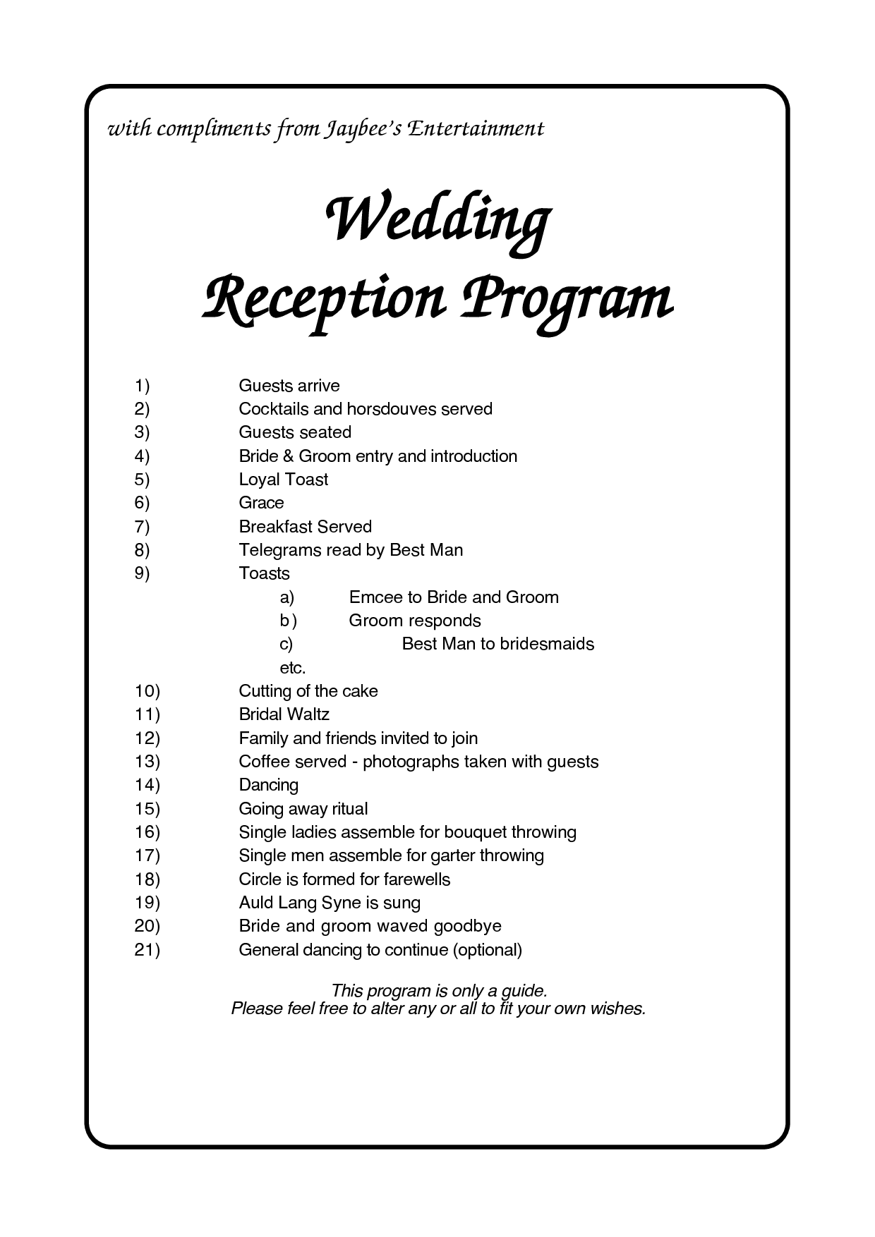 6 best images of reception agenda printable wedding reception program template wedding. Black Bedroom Furniture Sets. Home Design Ideas