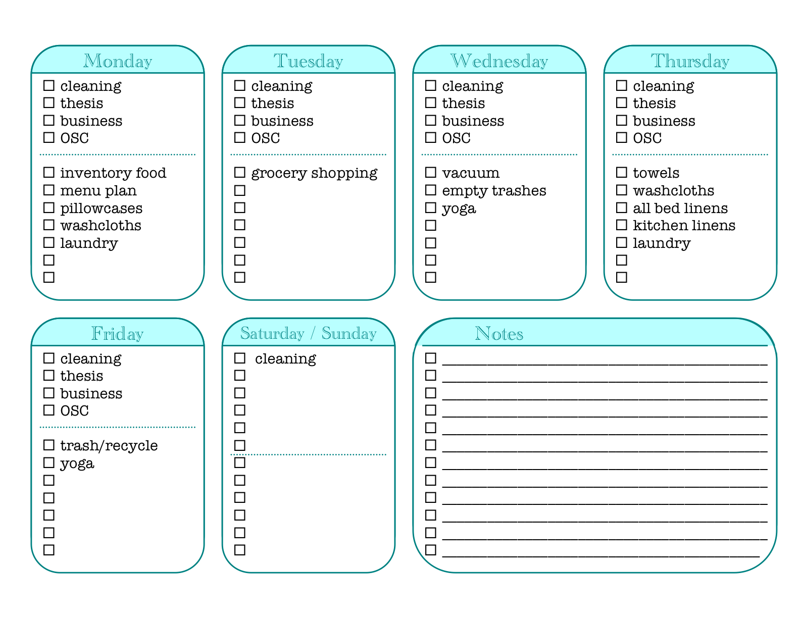7 best images of house cleaning chore list printables for House chore schedule template