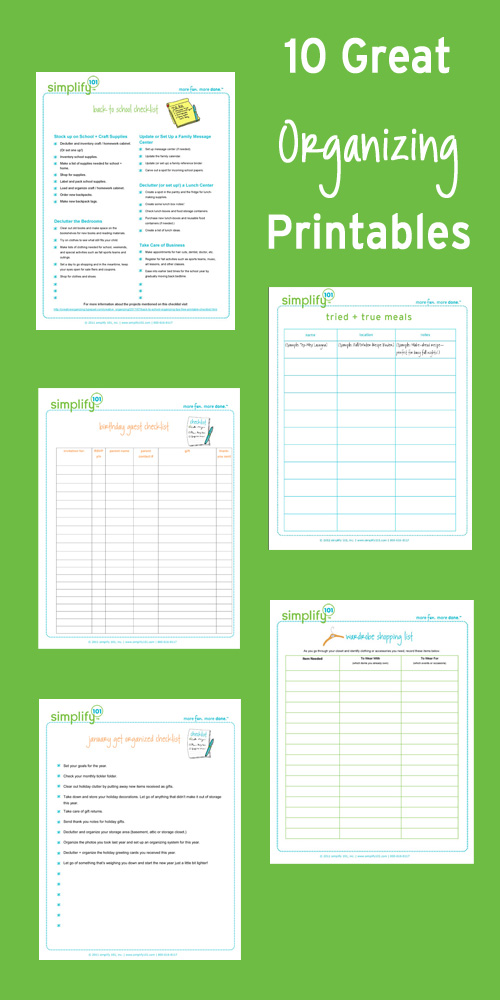 6 Images of Organizing Printable