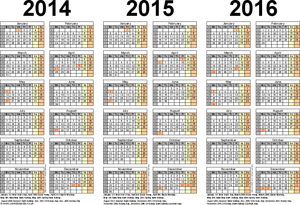 7 Images of 2014 2015 2016 Printable Yearly Calendar