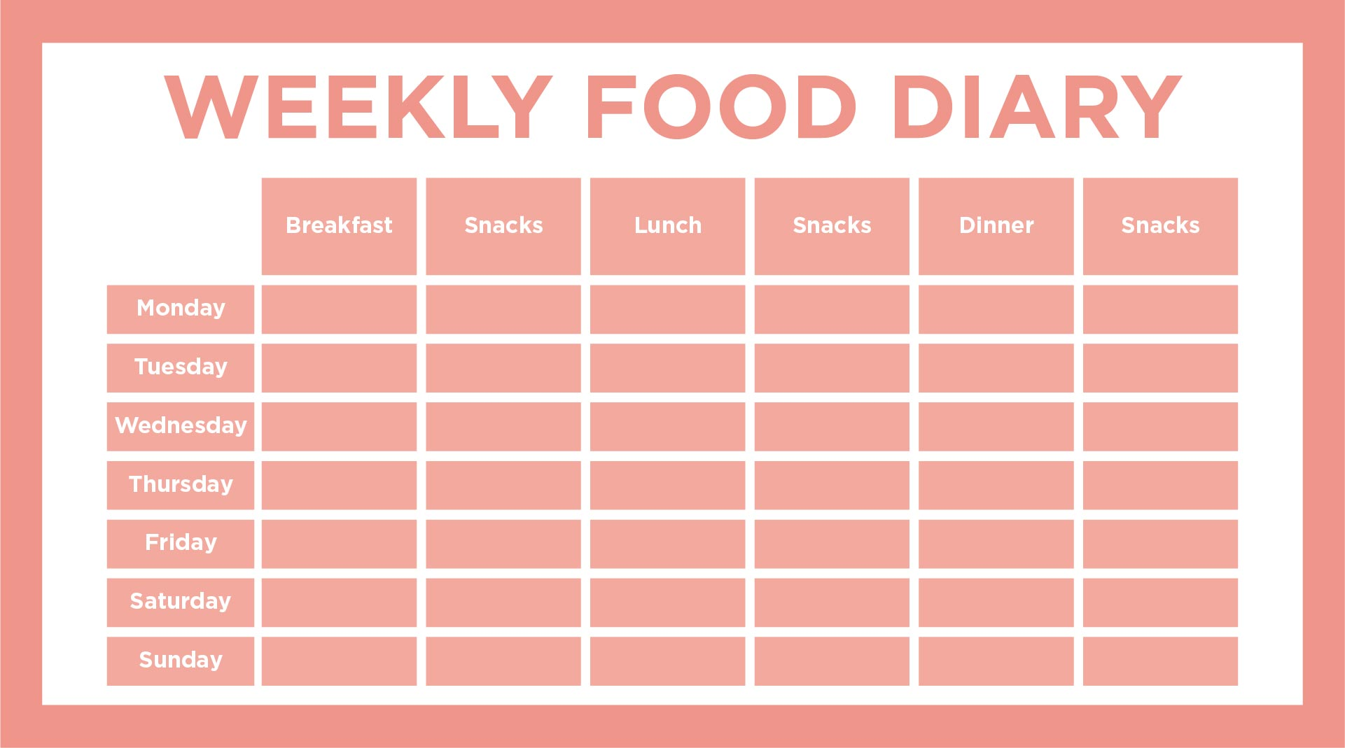 Day Food Log 5 Meals A Day - Food Diary Diet Journal, Printable Food ...
