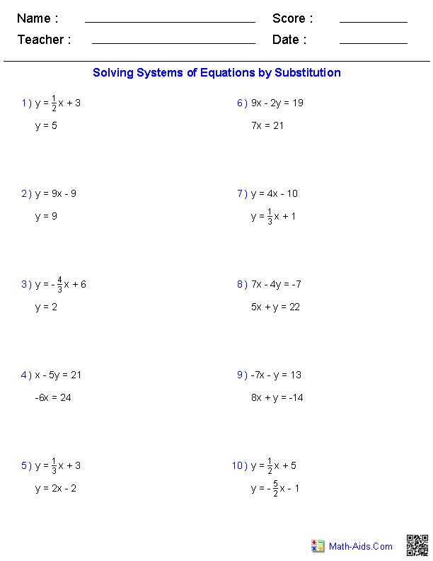 Algebra equations worksheets grade 7