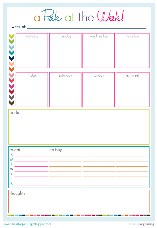 A Peek at the Week Free Printable Weekly Planner