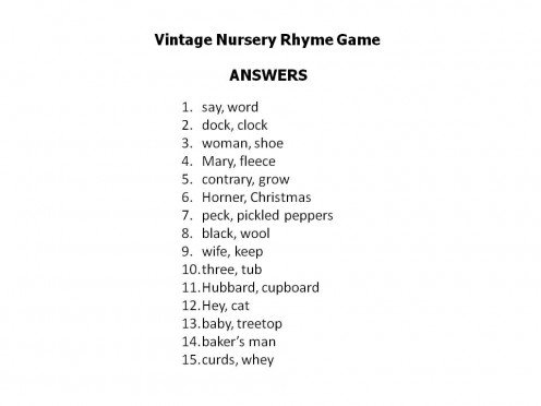 baby shower game nursery rhyme baby shower nursery rhyme game answers