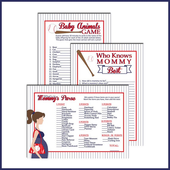 6 Images of Baseball Baby Shower Games Printable
