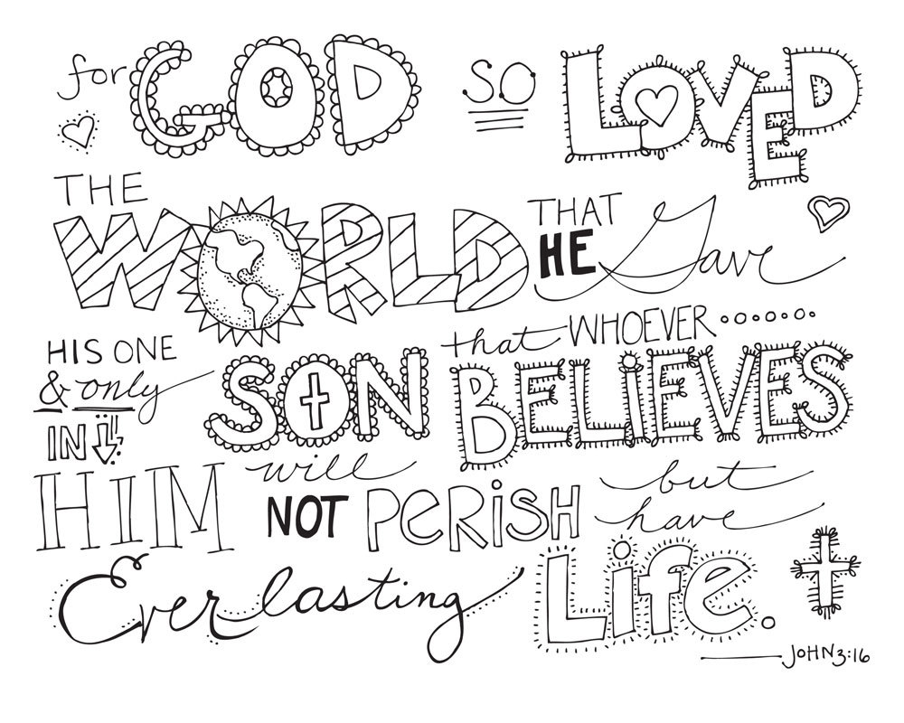 John 3 16 Valentine Coloring Page Coloring Pages