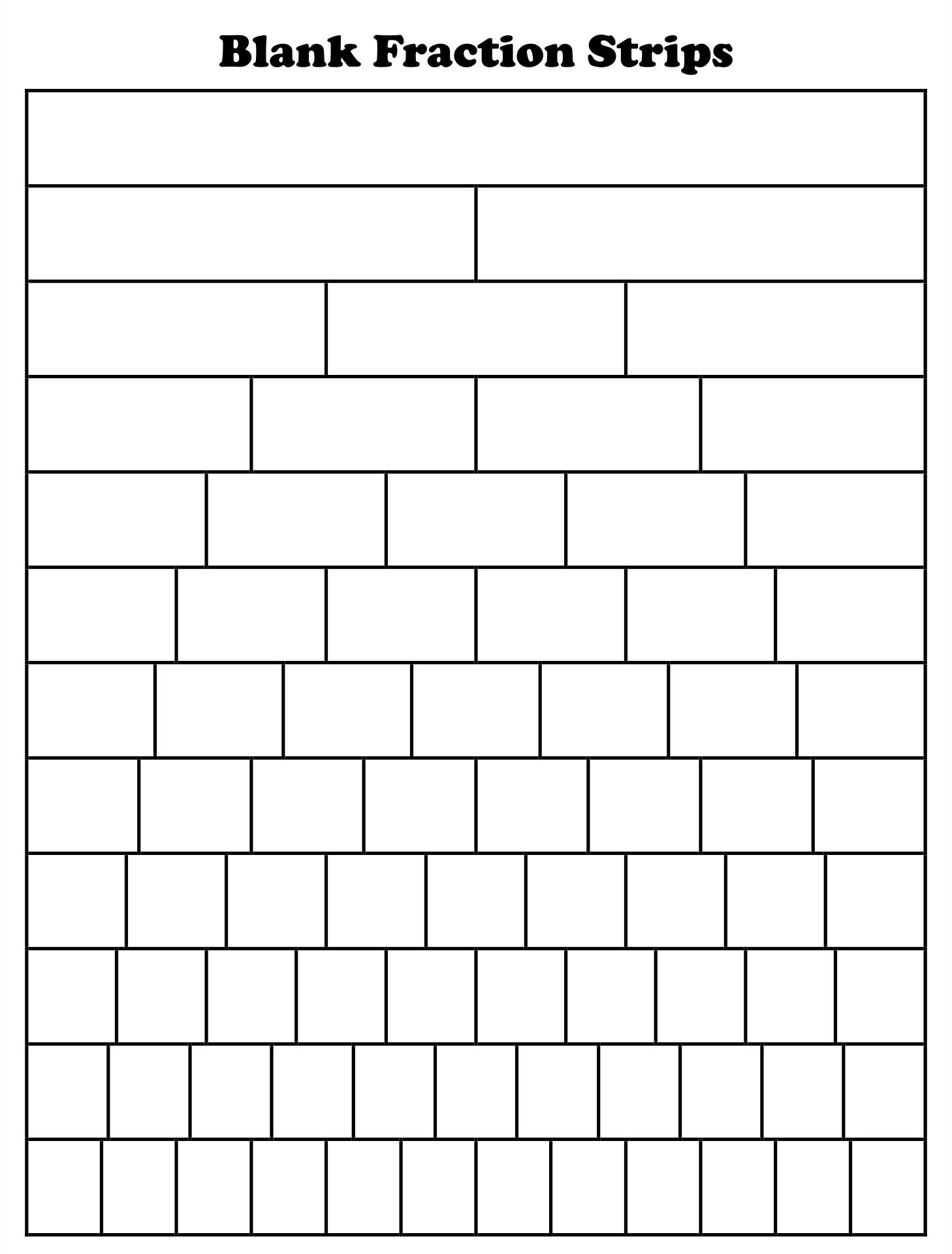 Blank Fraction Strips Printable