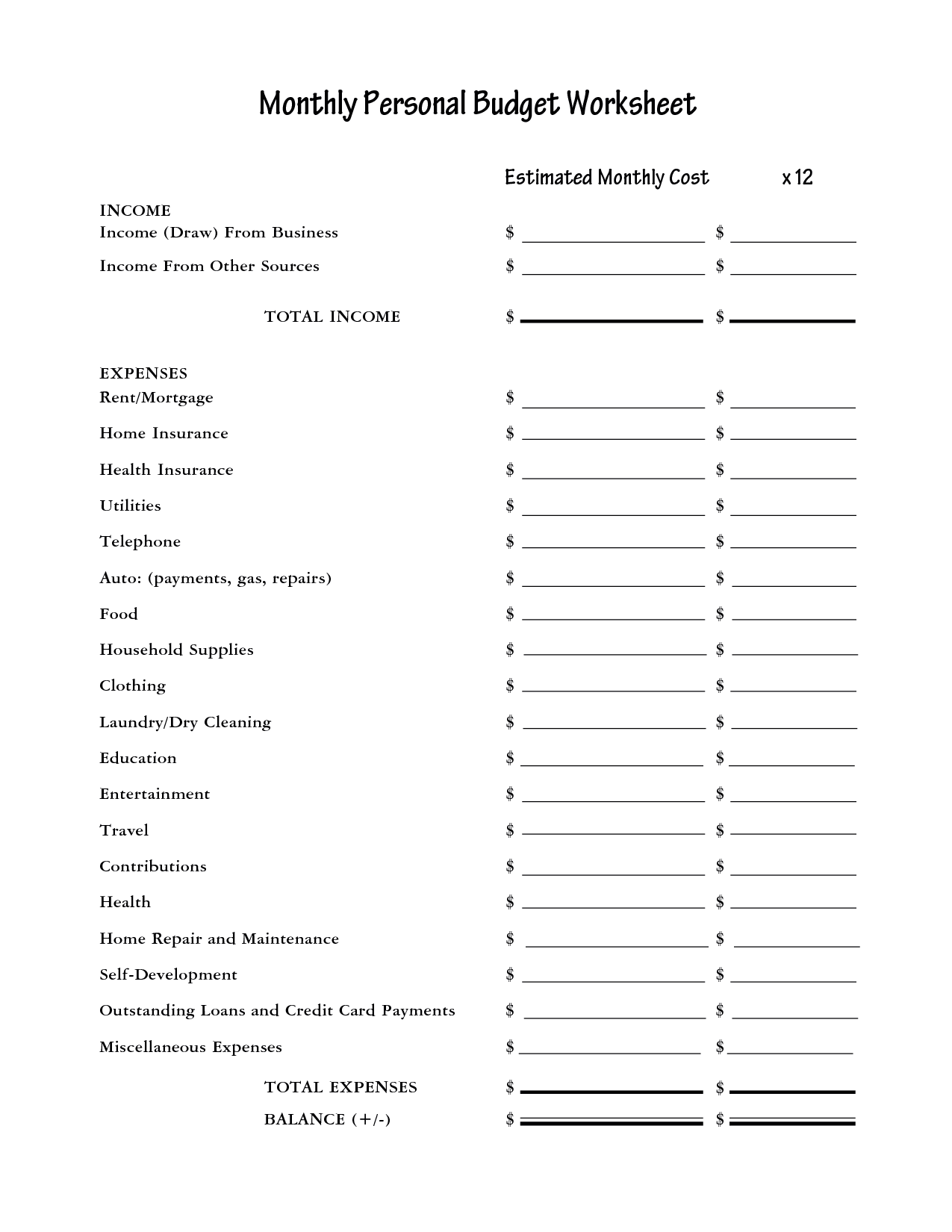 Printable blank monthly budget worksheet 7 plus monthly for Asset and liability statement template
