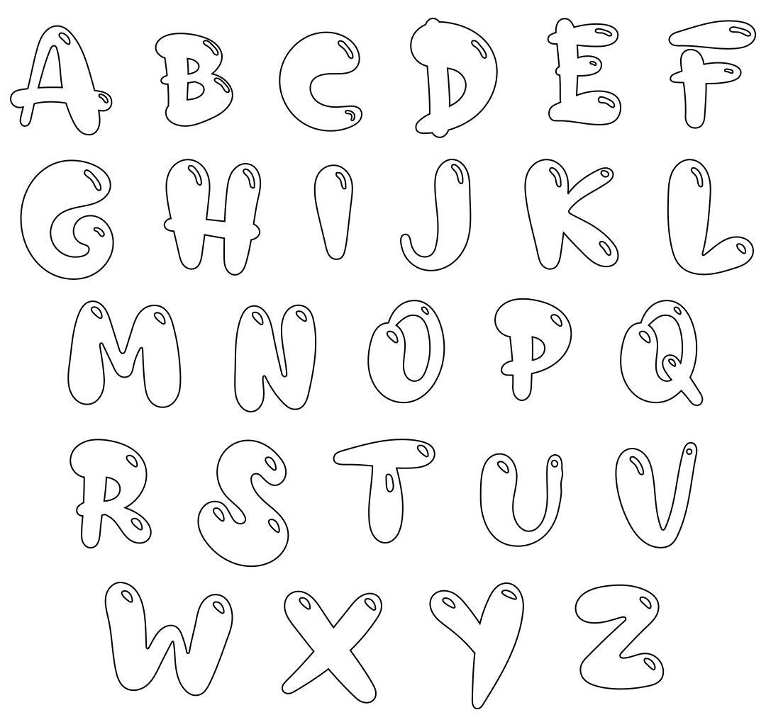 Bubble Letter Alphabet Coloring Pages