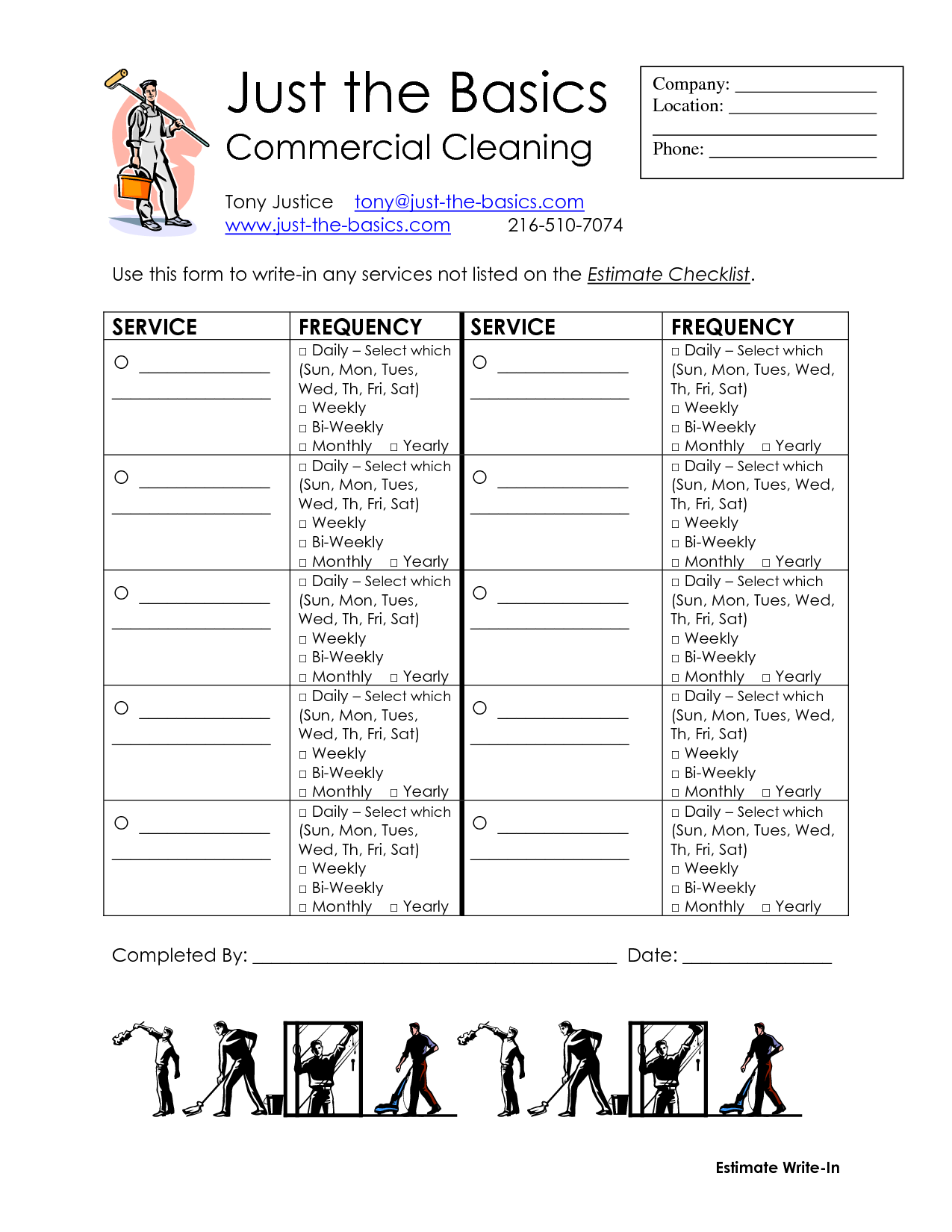 8 Images of Office Cleaning List Printable
