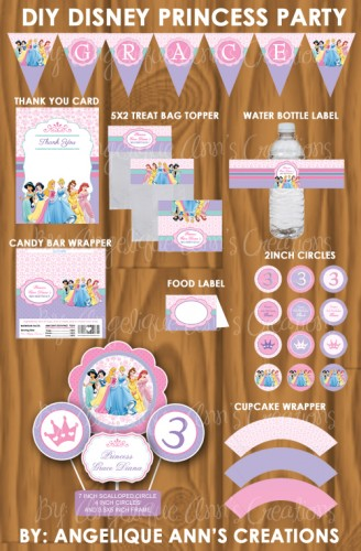 4 Images of Disney Princess Party Printables