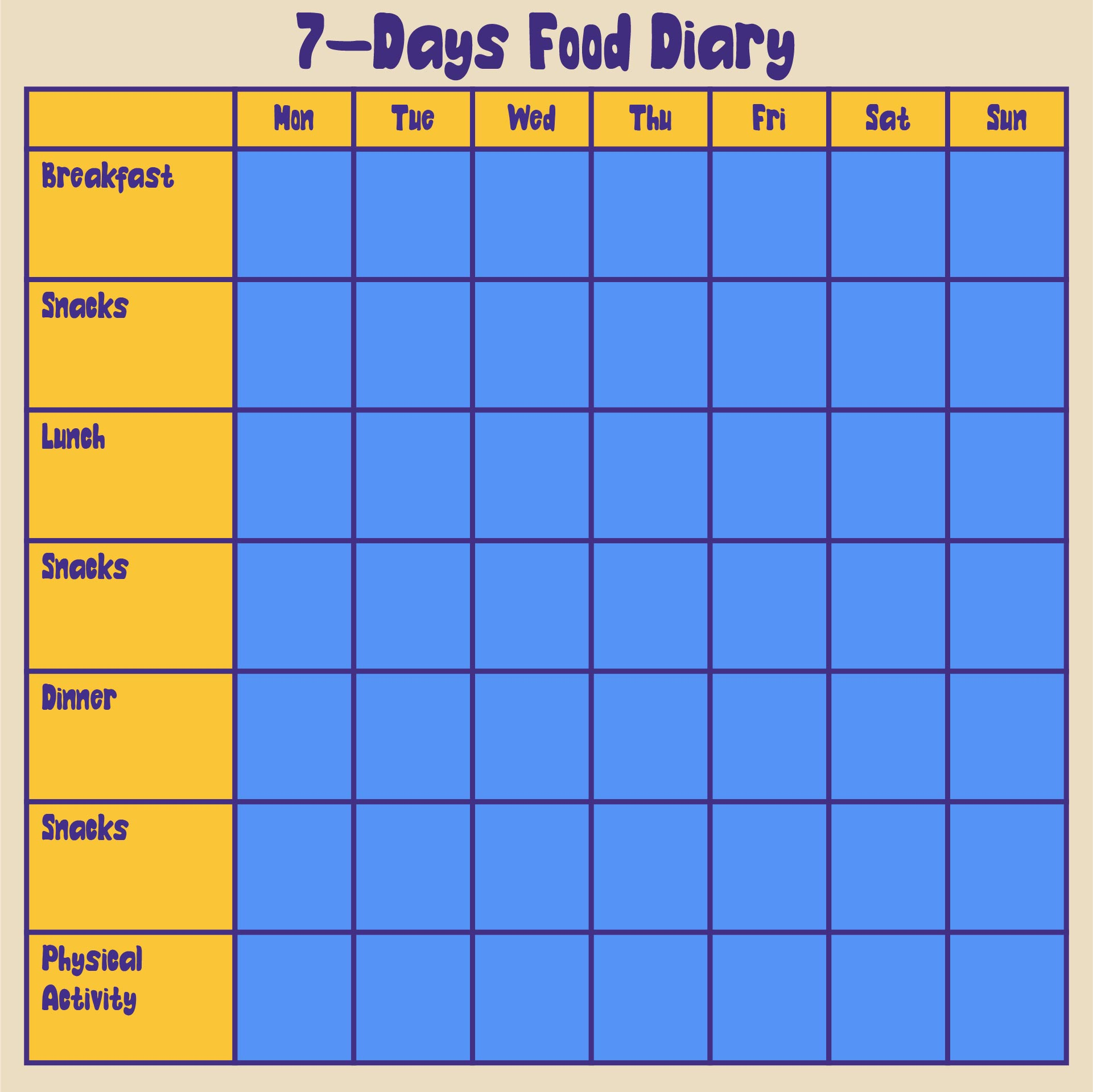 Printable 7-Day Food Log 5 Meals A Day