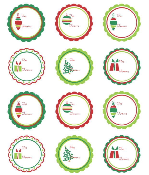 7 Images of Free Printable Christmas Circle Labels