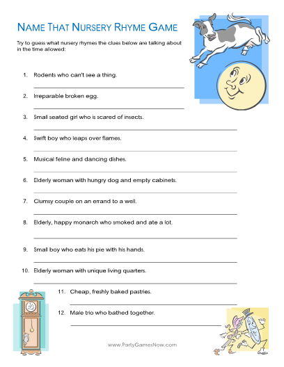 baby shower game template and baby shower nursery rhyme game answers