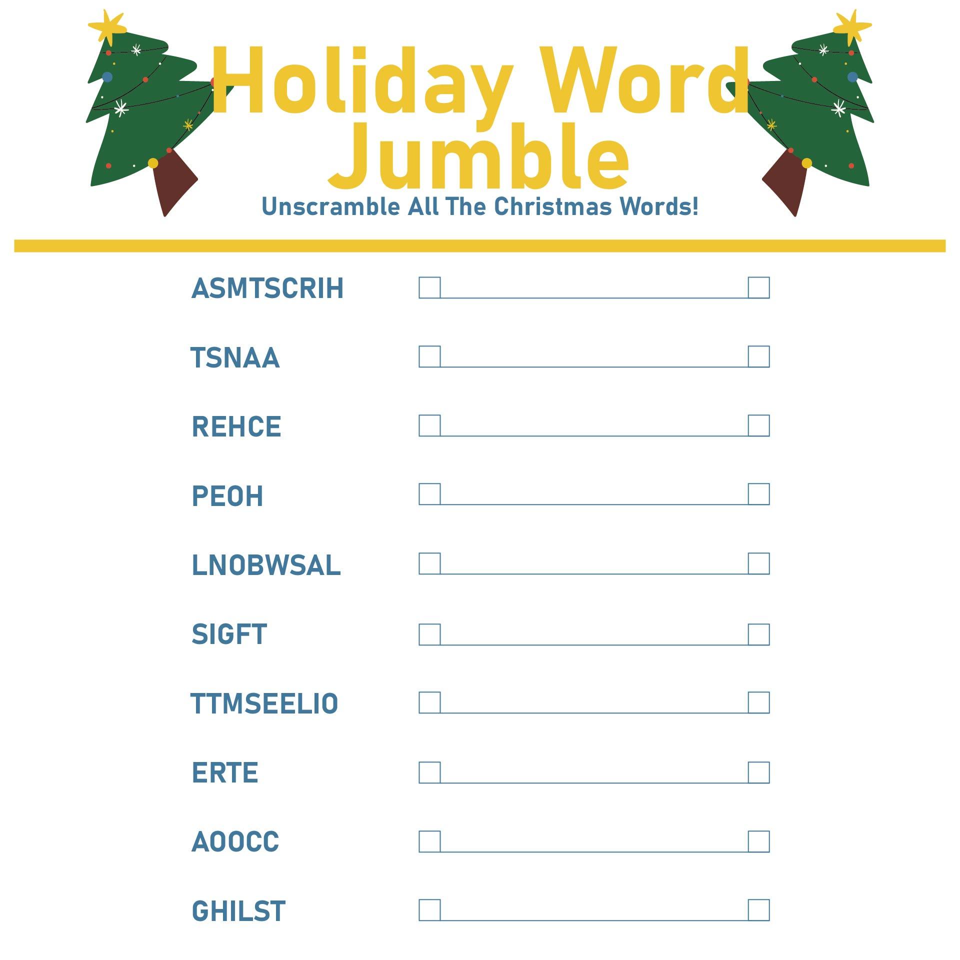 Printable Christmas Word Jumble Puzzles