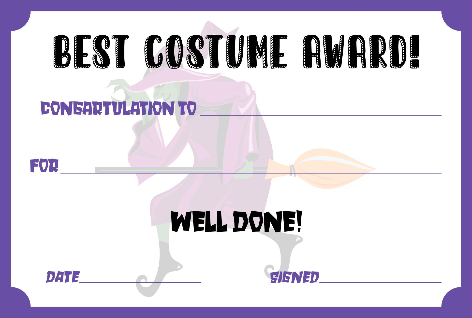 Printable Halloween Certificate Awards Templates