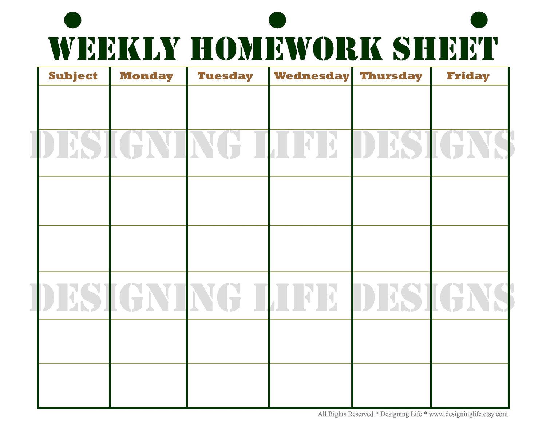 Printable Homework Planner Template