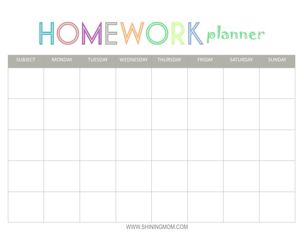 Printable Homework Planner