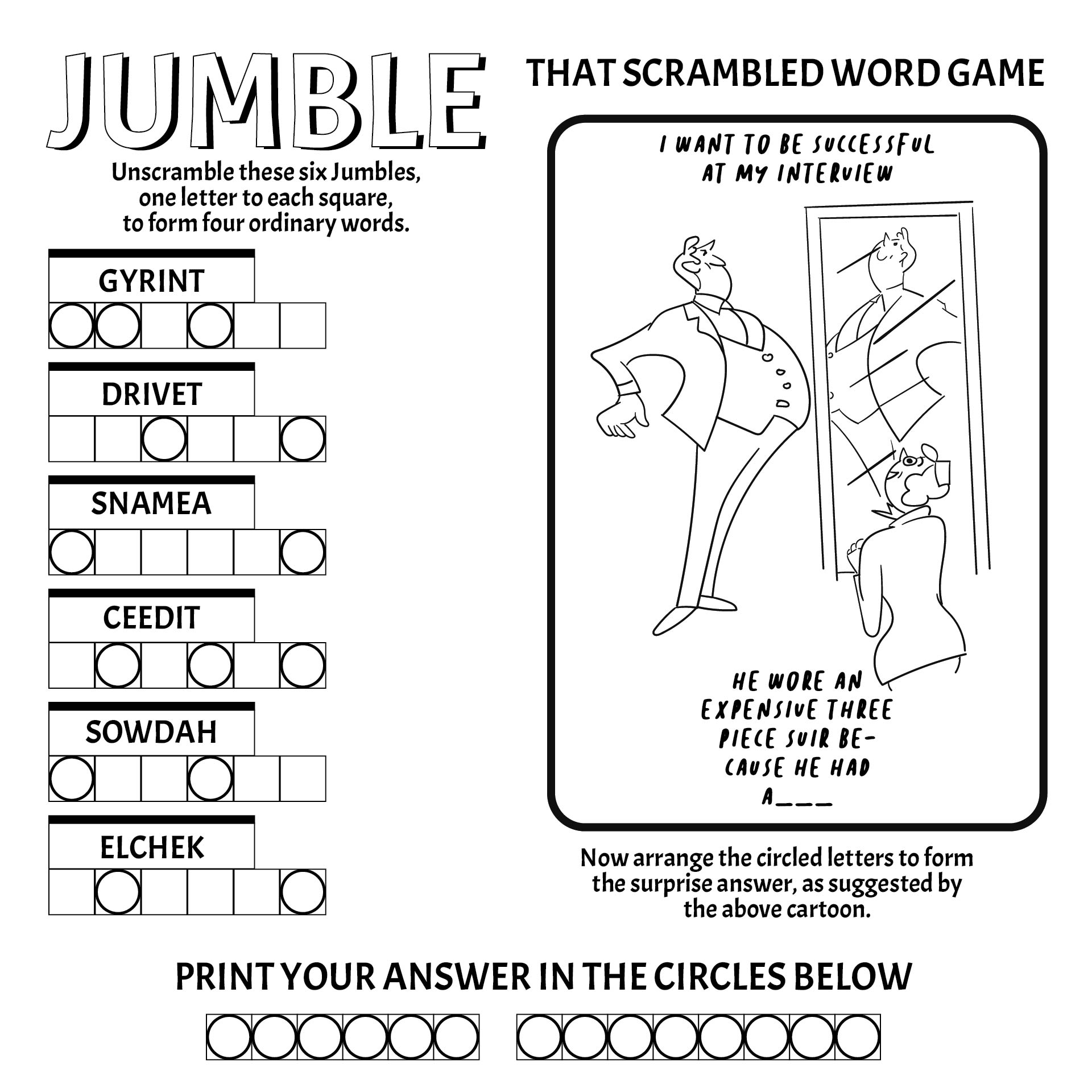 Printable Jumble Word Game