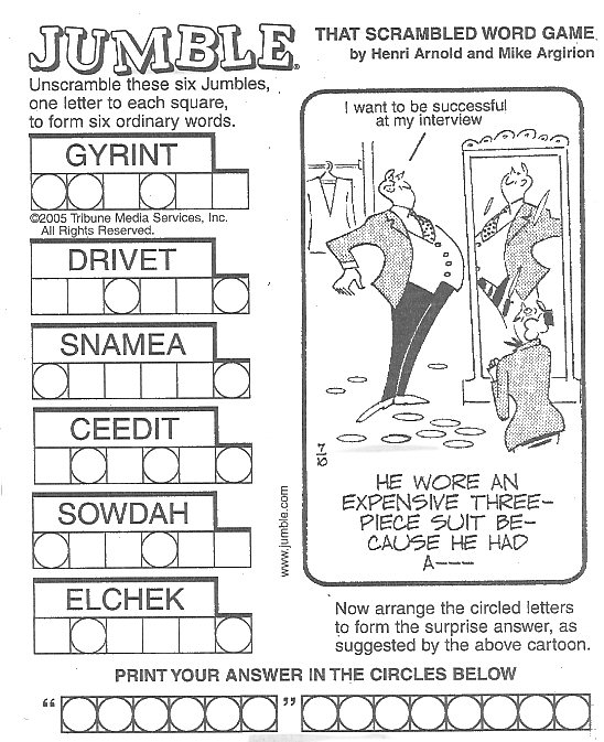 7 Images of Printable Jumble Crosswords