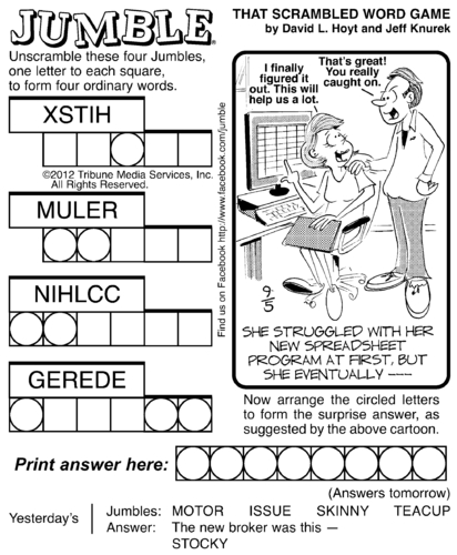 Punchy image pertaining to printable jumble crossword puzzles