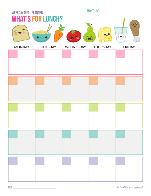 Free Printable Lunch Menu Planner