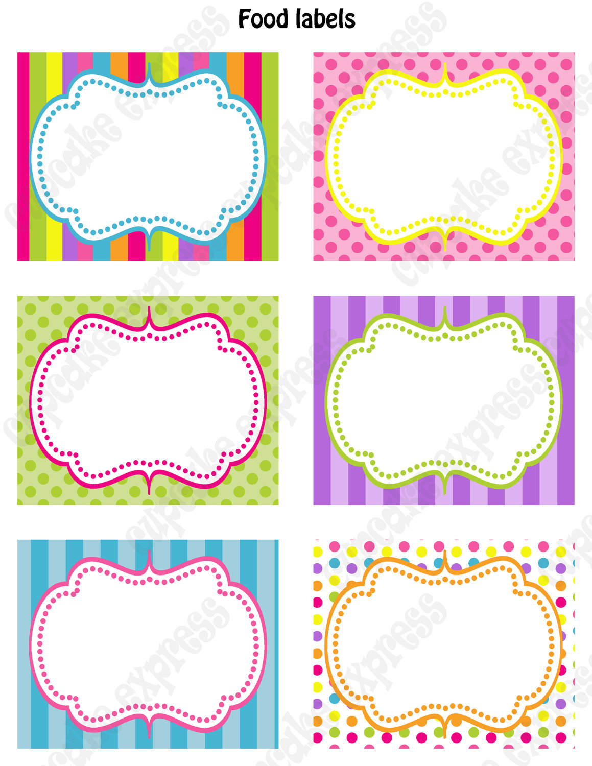 Free Printable Party Food Labels