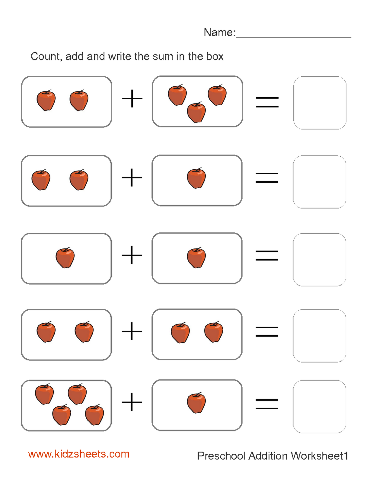 6 Best Images of Printable Kindergarten Math Addition Worksheets ...Free Printable Preschool Addition Worksheets