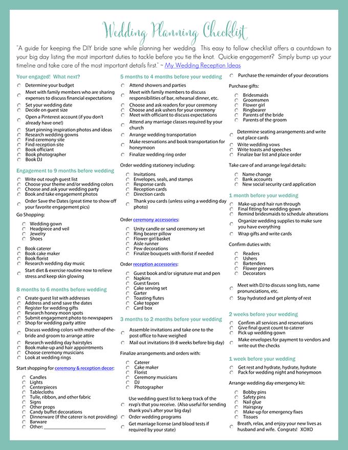 Printables Free Printable Wedding Checklist Worksheets free printable wedding checklist worksheets davezan printables worksheets