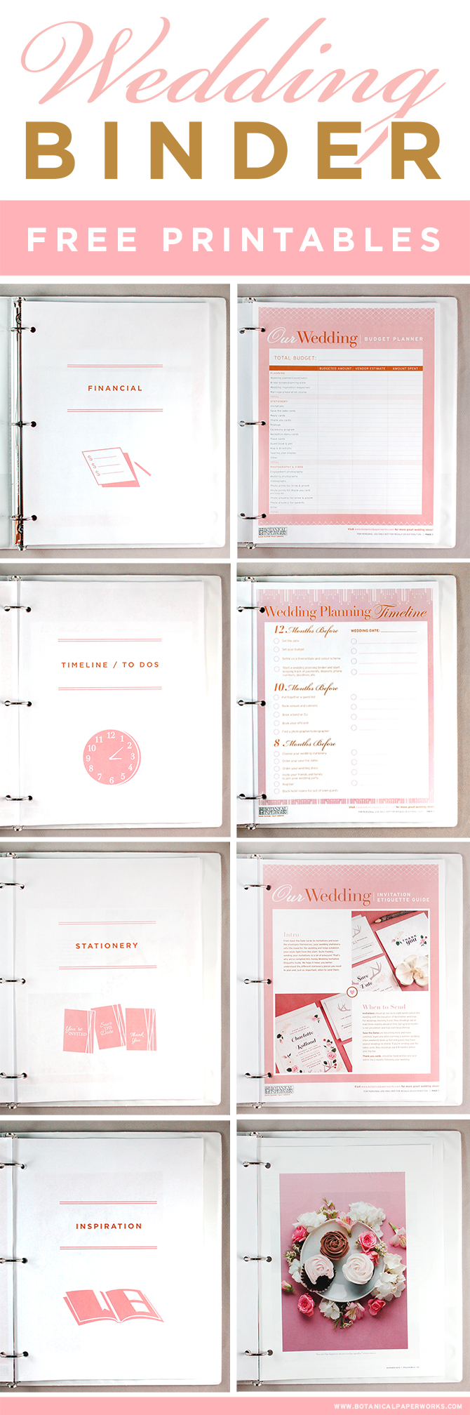 9 best images of wedding planner binder printable pages