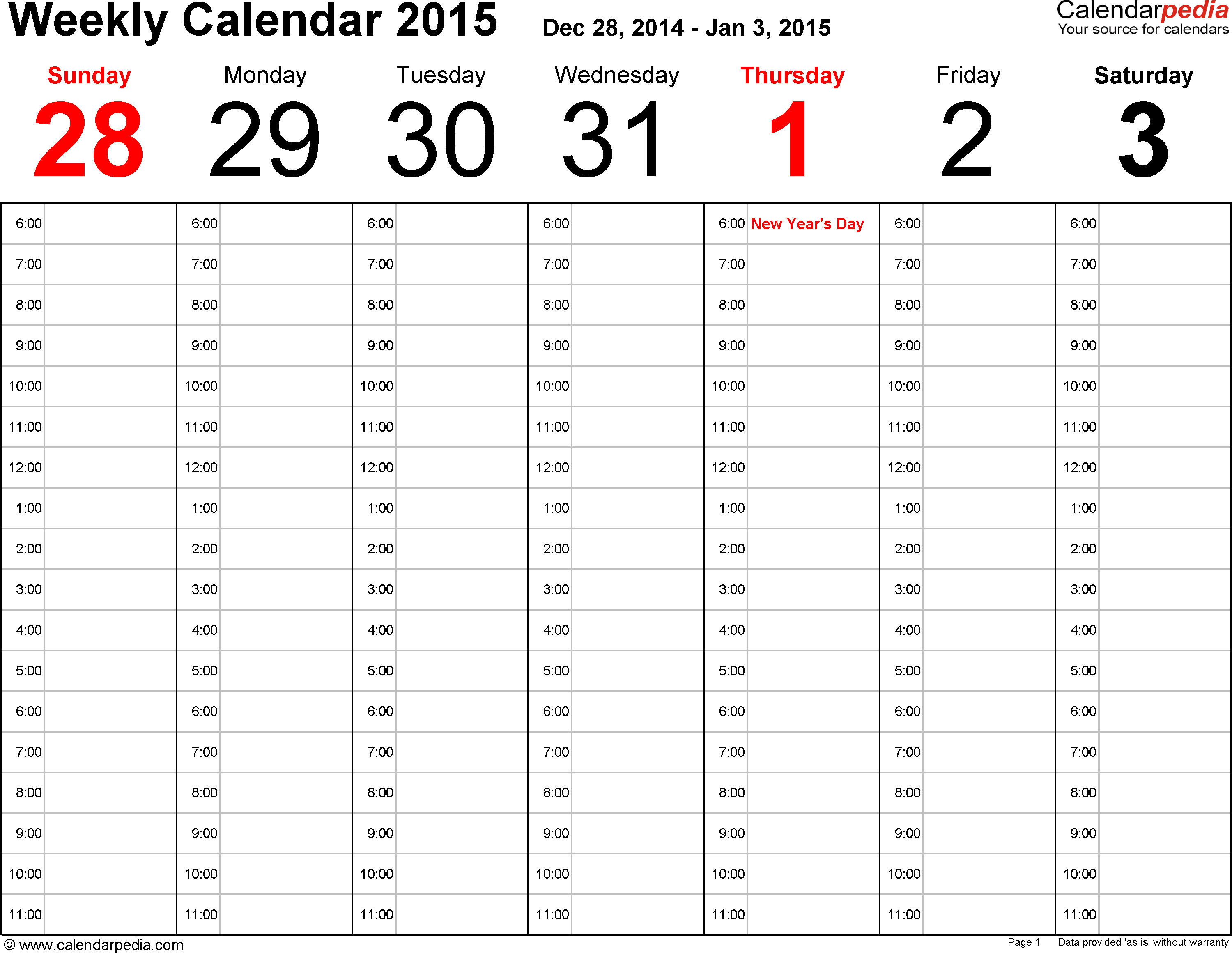 5 Images of Printable 2015 Calendar Week