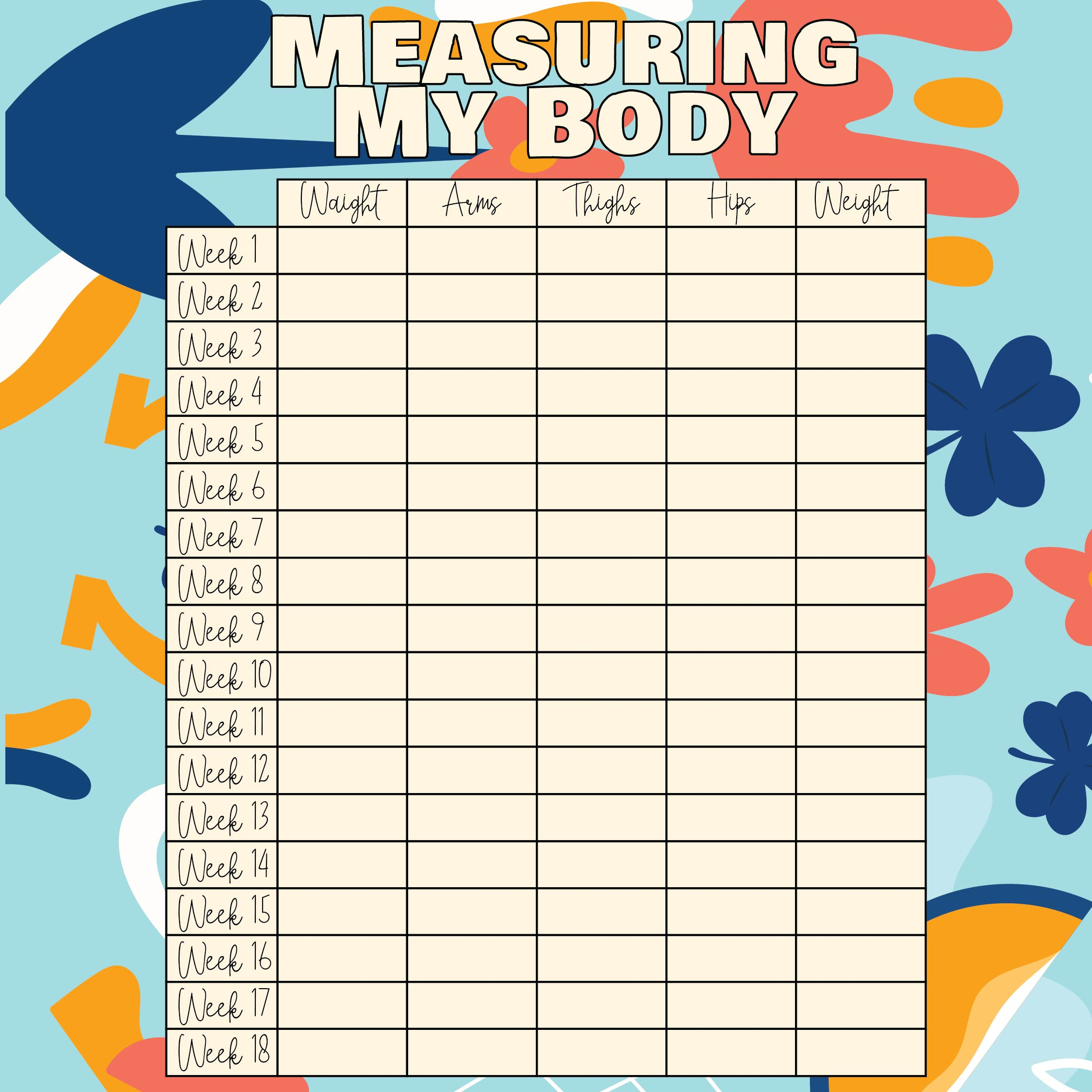 Printable Weight Loss Measurement Chart