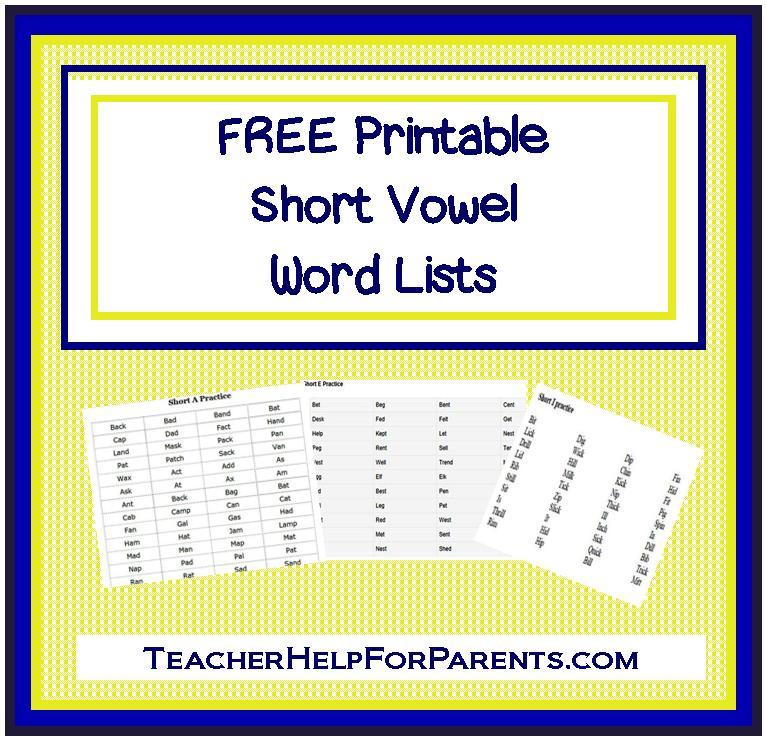 com short vowel word lists kindergarten short vowel words and long ...