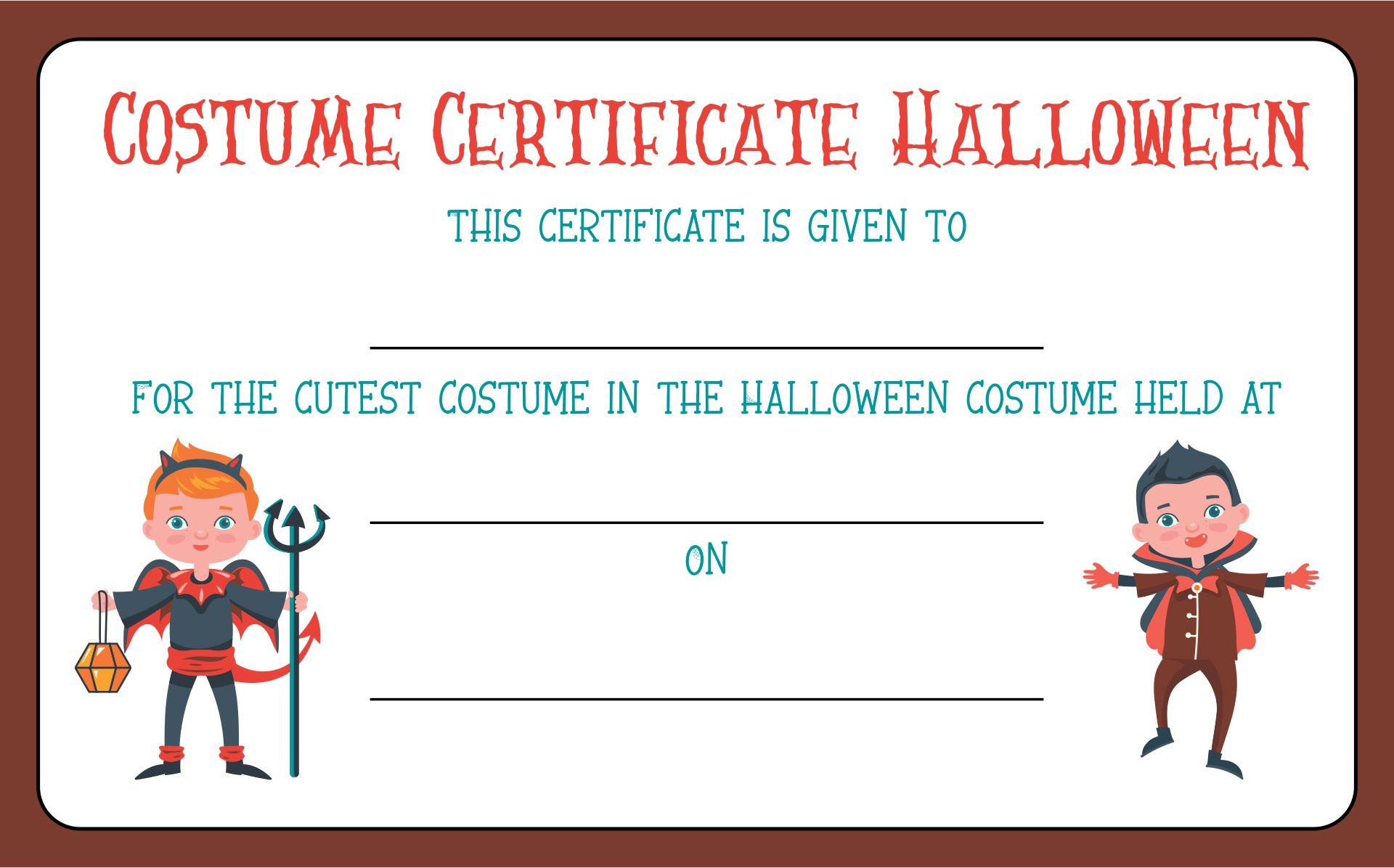 Halloween Costume Award Printable Certificates