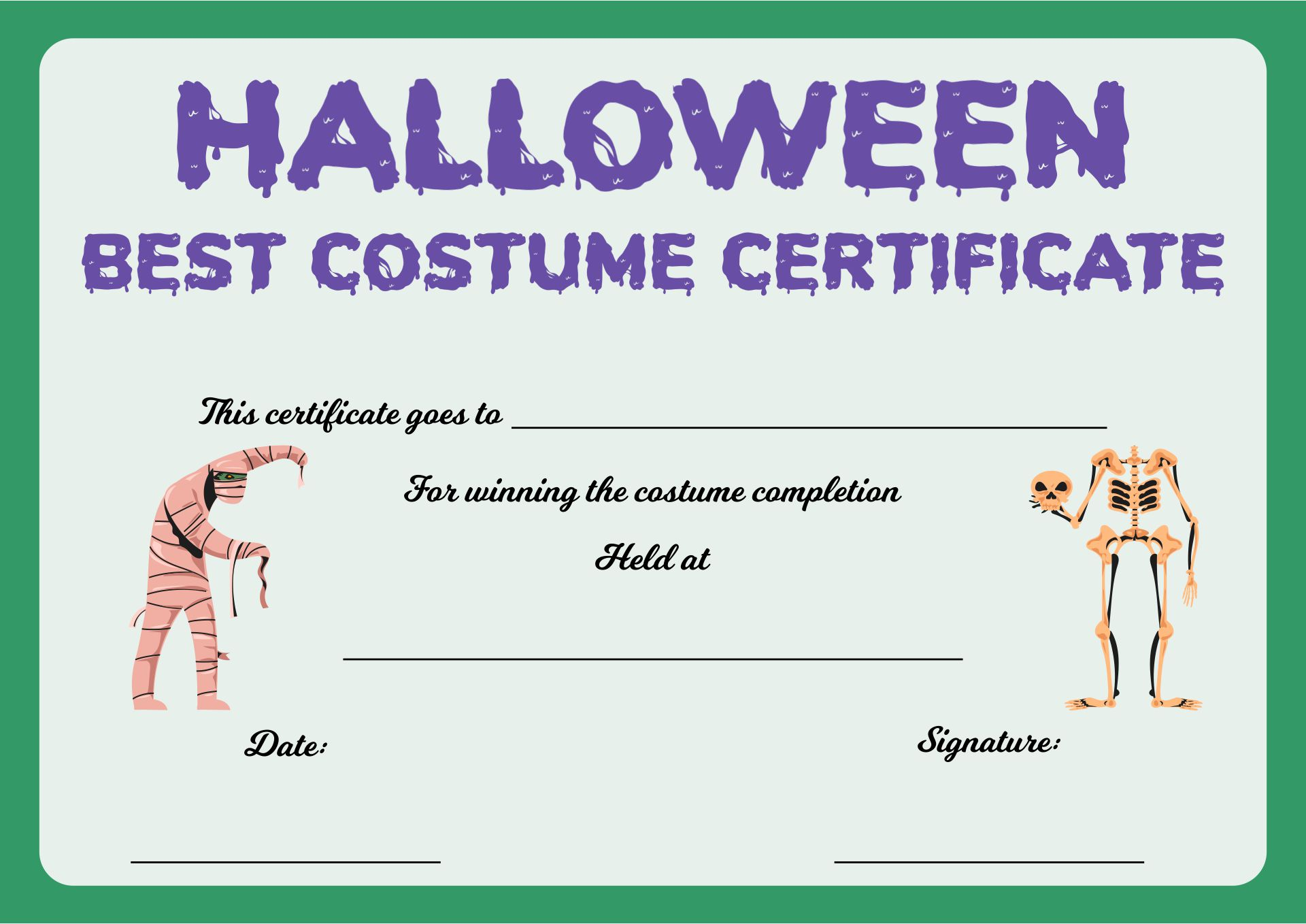 Halloween Costume Contest Award Certificates
