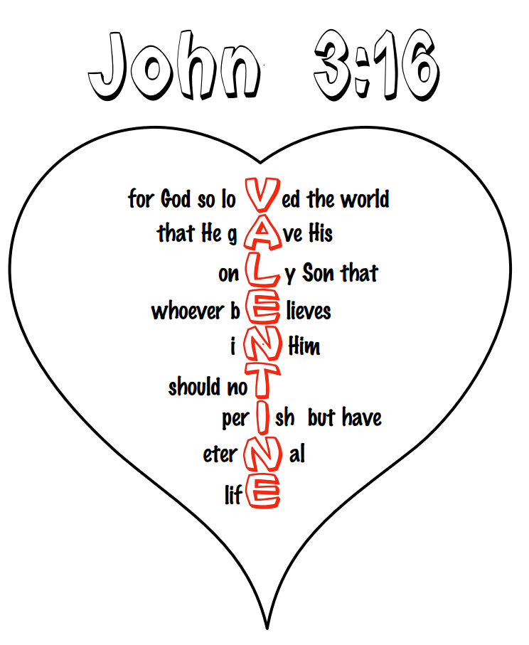 8 Images of Valentine Coloring Printable John 3 16
