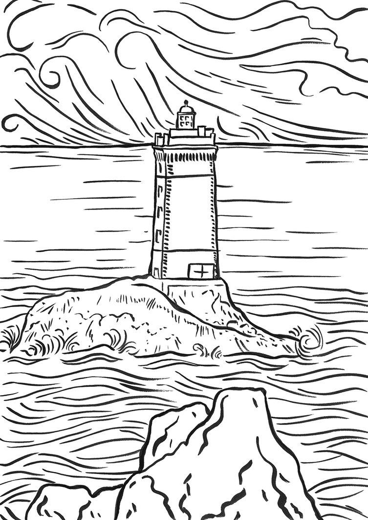 5 Images of Printable Lighthouse Coloring Pages
