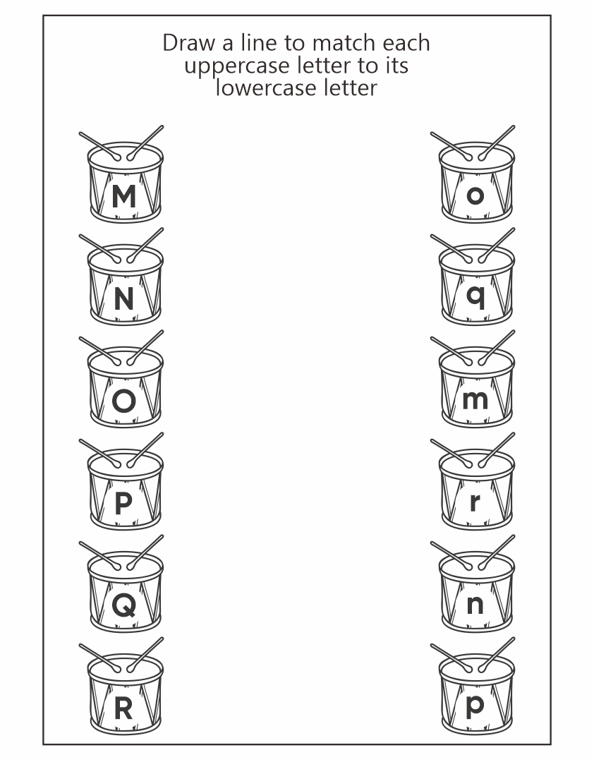 Matching Uppercase and Lowercase Letter Worksheets