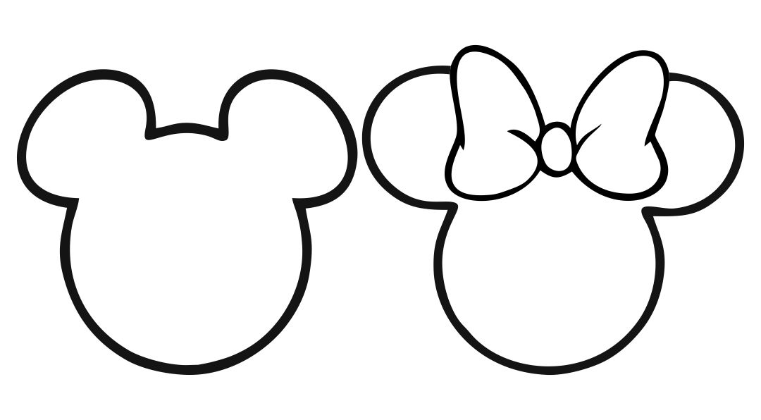 Mickey and Minnie Mouse Head Outline