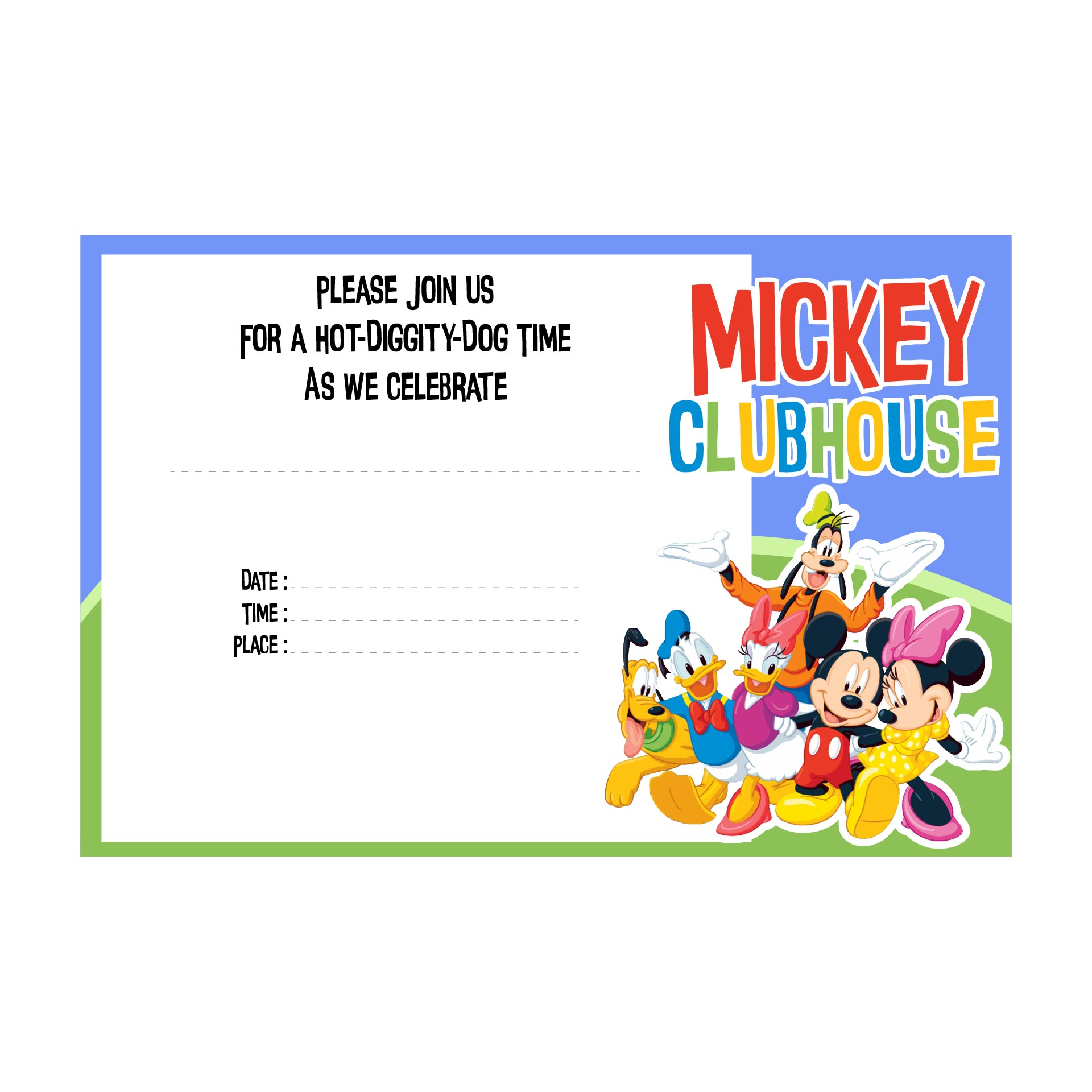 Mickey Mouse and Friends Birthday Invitation Template