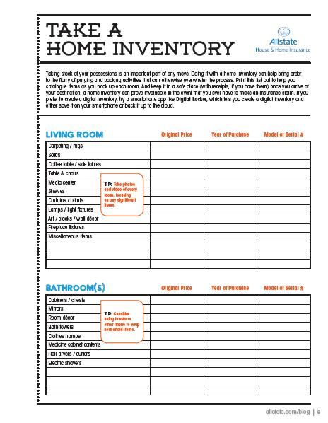 6 Images of Home Inventory Checklist Printable