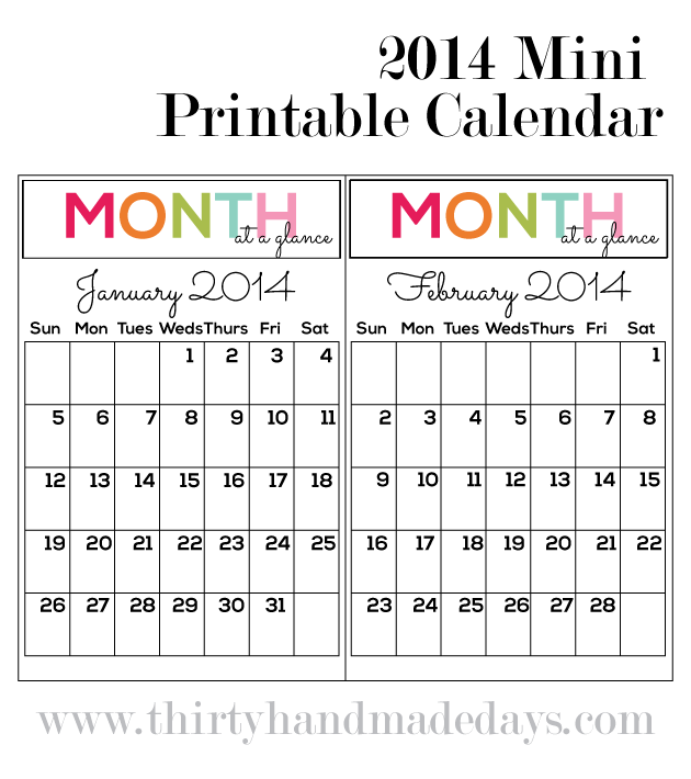 8 Images of Printable Mini Calendar 2014